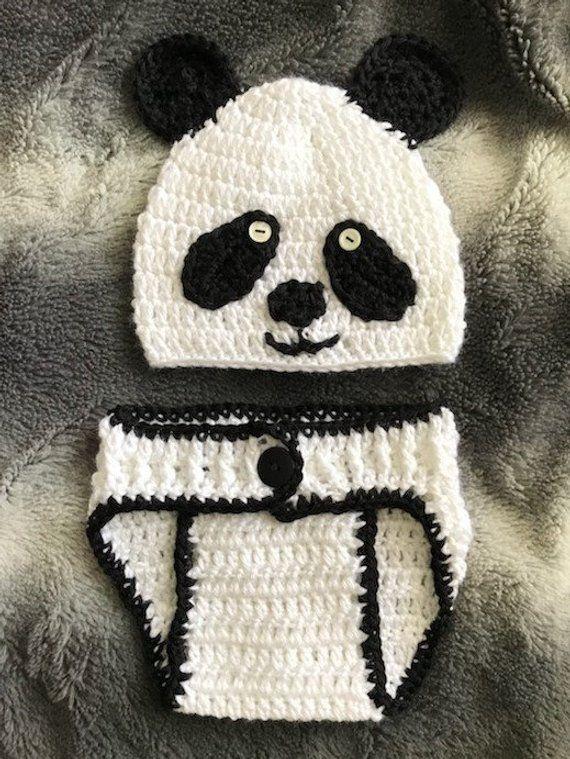 Baby Panda Outfit, Crochet Panda Outfit, Baby Crochet, Diaper Cover #babypandas