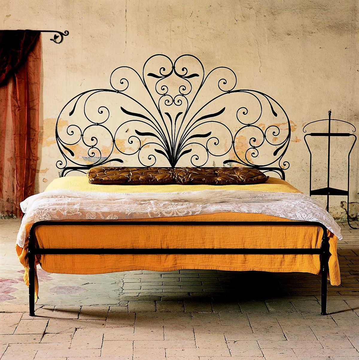 This Tuscan Bedroom Features A Beautiful Headboard Of Wrought Iron Which Is  So Tuscan. The Wall In The Background Is Also In Stucco Which Is Very  Typical Of ...