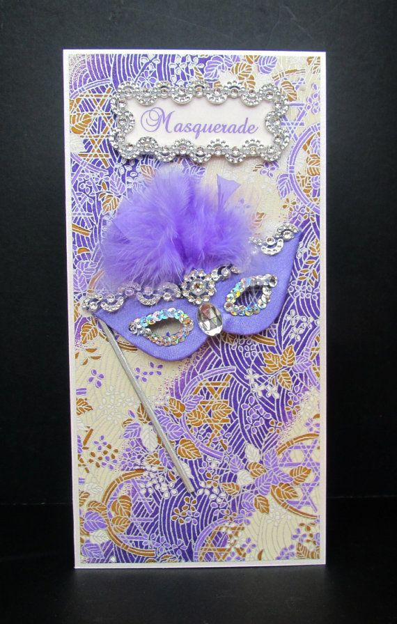 violet masquerade mask personalized card dl size by bsylvar