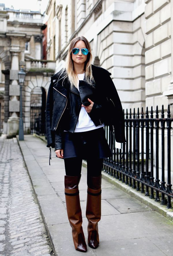 30 Ways to Look Stylish in the Dead of Winter - mirrored glasses, leather over-the-shoulder coat, skinny jeans + leather knee high boots