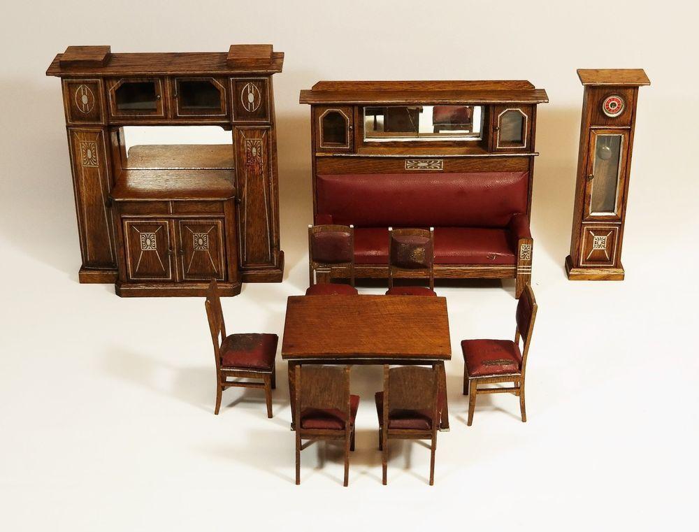 original jugendstil puppenm bel um 1910 wohnzimmer f r puppenstube m bel ebay puppenstube. Black Bedroom Furniture Sets. Home Design Ideas
