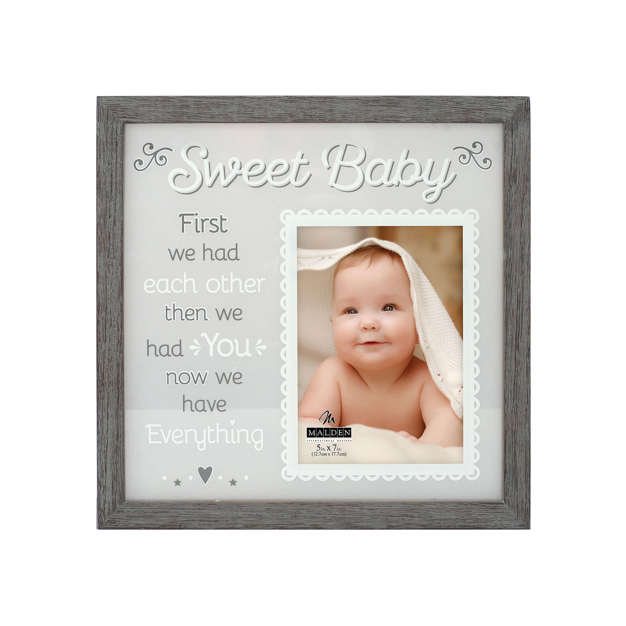 "Malden ""Sweet Baby"" 5"" x 7"" Frame, Grey"
