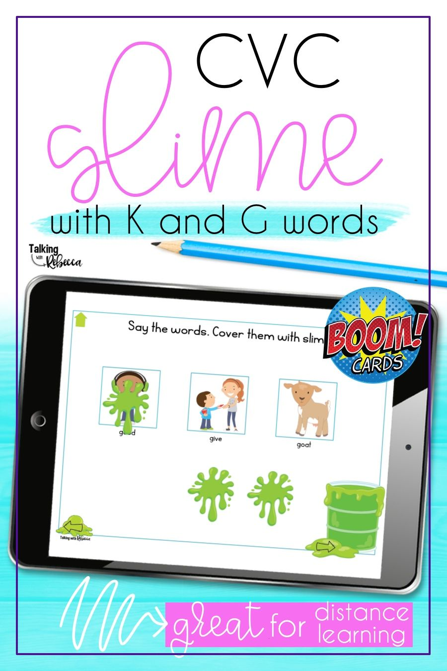 Cvc k and g words boom cards for speech therapy cvc