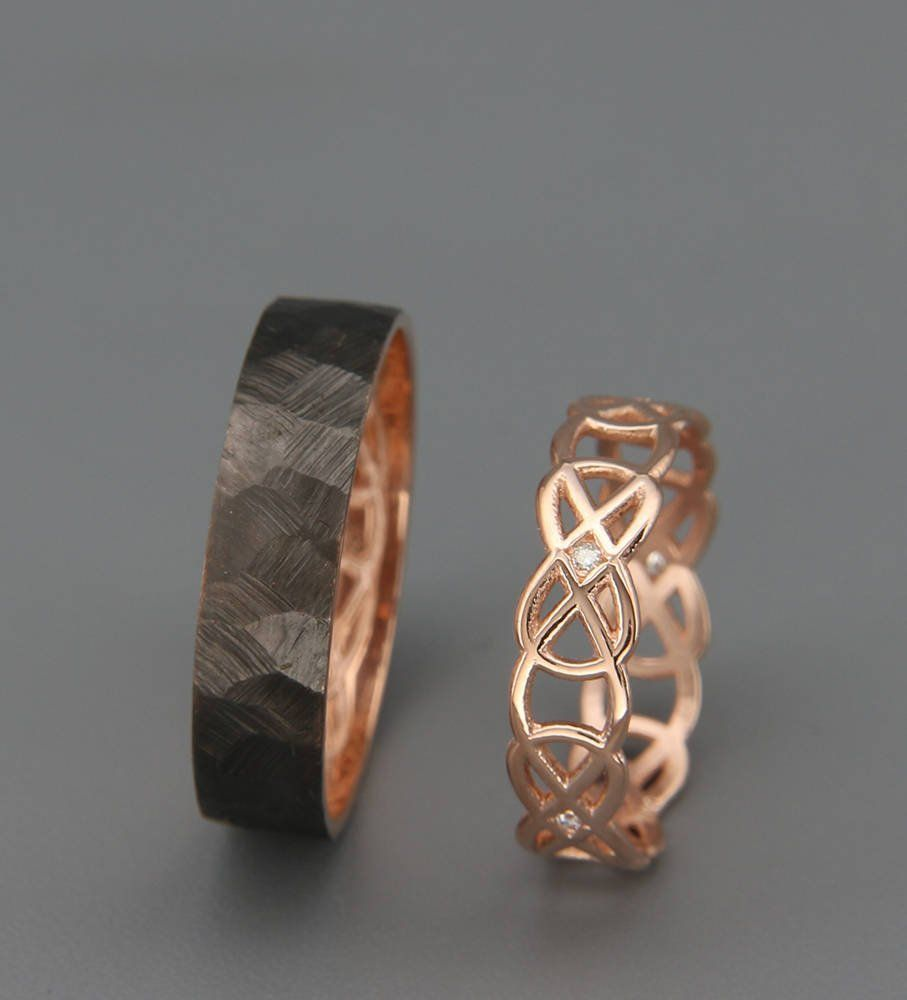 His And Hers Celtic Wedding Band Set Rose Gold Knot Wedding Etsy In 2020 Celtic Wedding Band Set Wedding Band Sets Celtic Wedding Bands