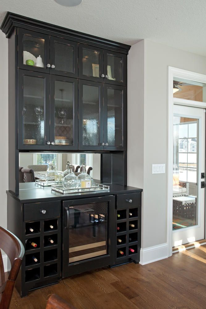 dry bar in dining area at stockton model home in built