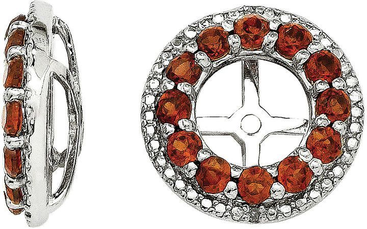FINE JEWELRY Genuine Garnet and Diamond Accent Sterling Silver Earring Jackets