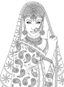 Indian Beauty Colouring Page