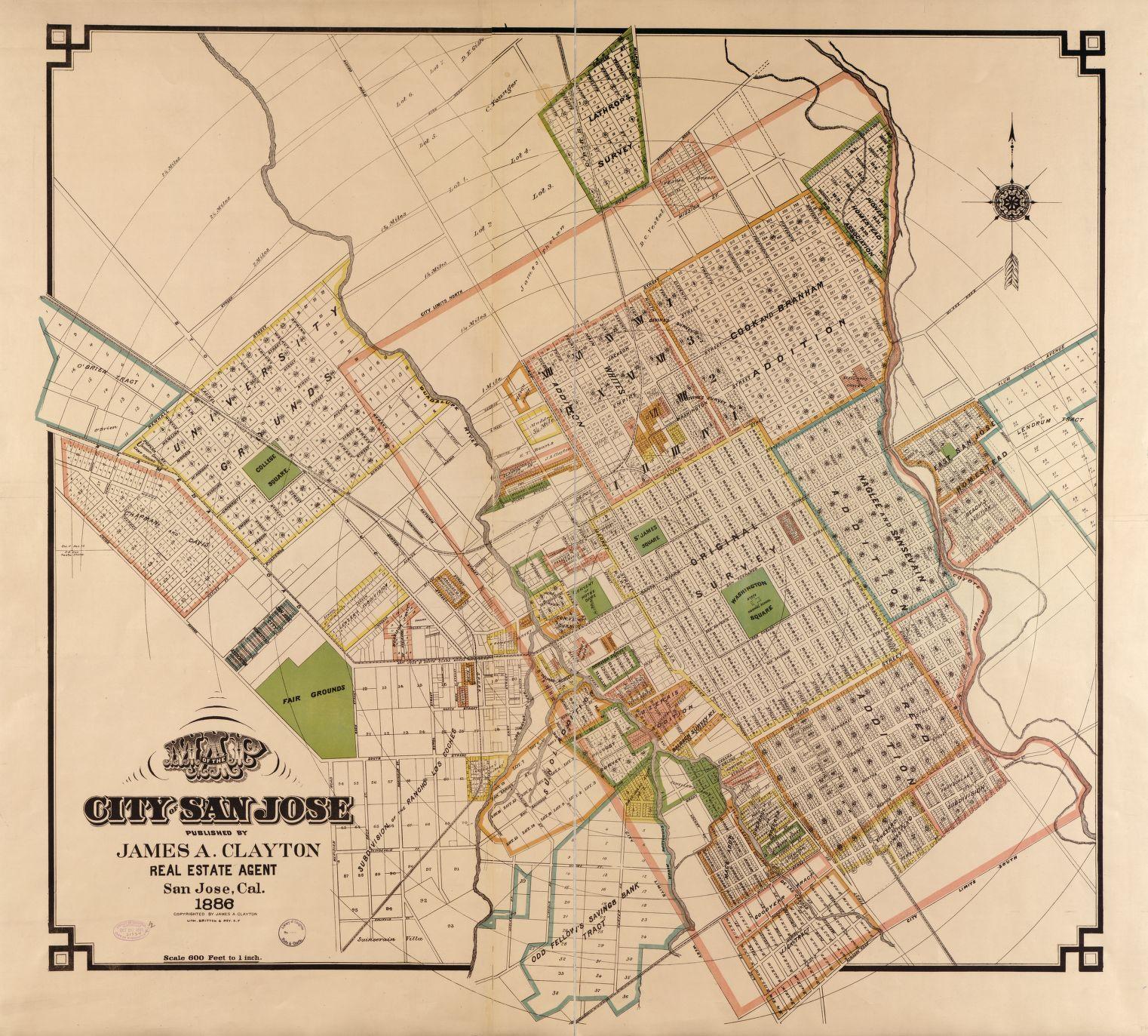 Downtown San Jose 1886 | Historic San Jose | San jose map, Map ... on