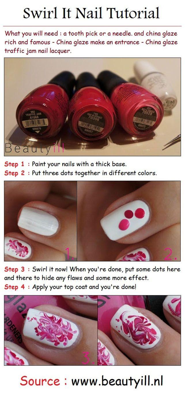 Swirl pink nail art style tutorial pinky pinterest pink nails