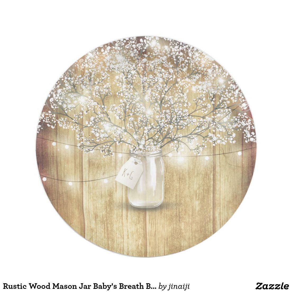 Rustic Wood Mason Jar Baby\'s Breath Barn Wedding Paper Plate ...