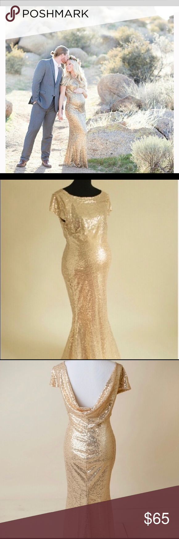 Xs gold sequin maternity gown dress pinterest maternity gowns