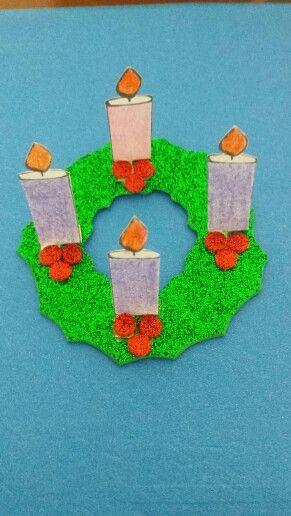 Corona de adviento para ni os de catequesis en foamy y for Manualidades de navidad para ninos