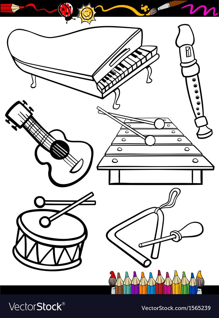 Coloring Book Or Page Cartoon Illustration Of Black And White Music Instruments Objects Set Fo Music Coloring Musical Instruments Drawing Music Coloring Sheets