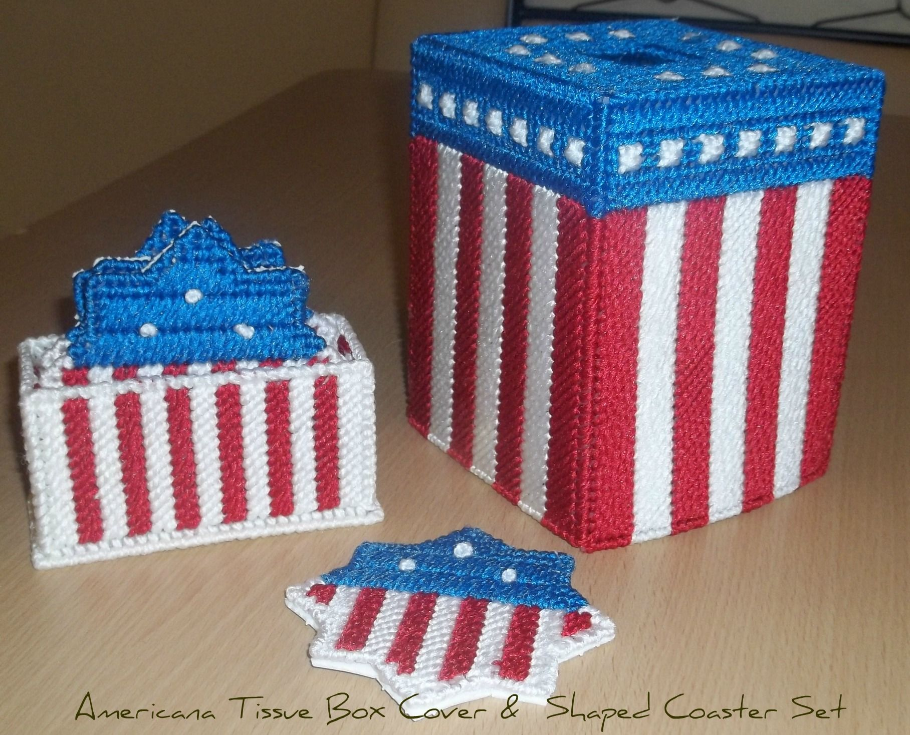 Americana Tissue Box Cover with matching Coasters