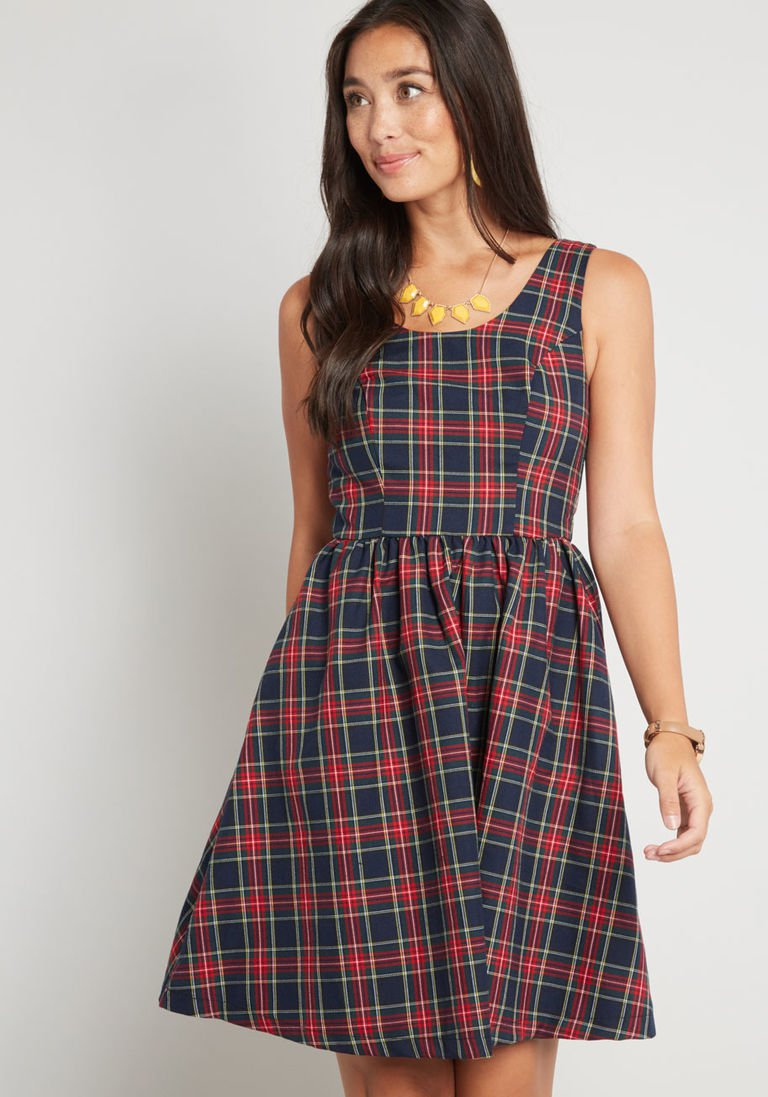 9ef7fccab2 Optimistic Effect Sleeveless Dress in Plaid in XS - Fit   Flare Knee Length  by ModCloth