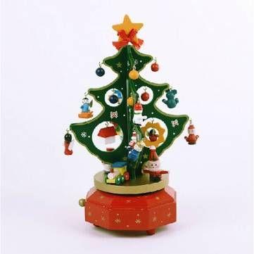 wooden christmas tree rotating music box christmas gift decorations at banggood