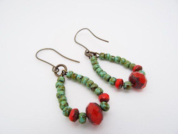 Bohemian style earrings made with czech glass beads.