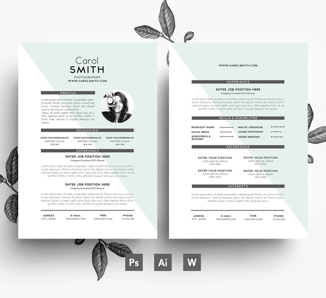Editable 2page Resume Template/ Cover letter/ Easy