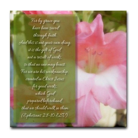 SOLD Ephesians 2:8-10 Tile Coaster $6.25 #scripture #gifts
