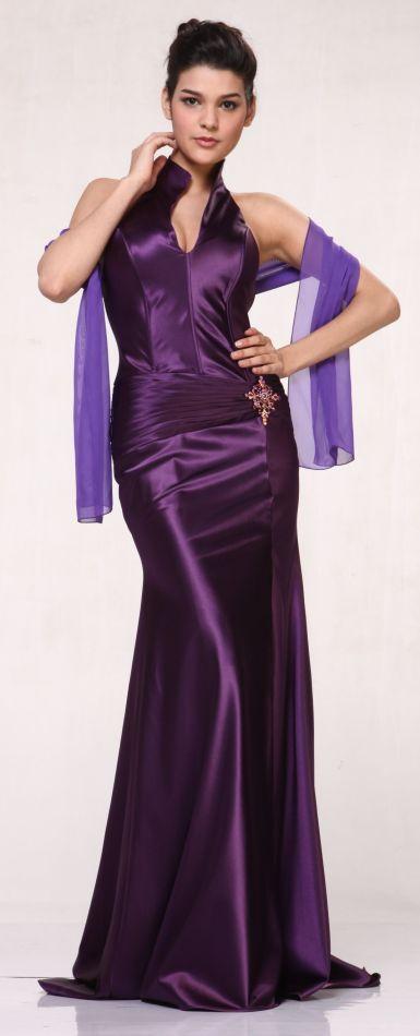 f40ab55859 Eggplant Collar Halter Dress Satin Formal Open Slit Sexy Full Length Gown  $117.99