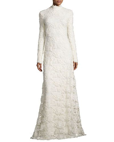 69c71bc6dda B31GU Ralph Lauren Collection Long-Sleeve Mock-Neck Lace Gown