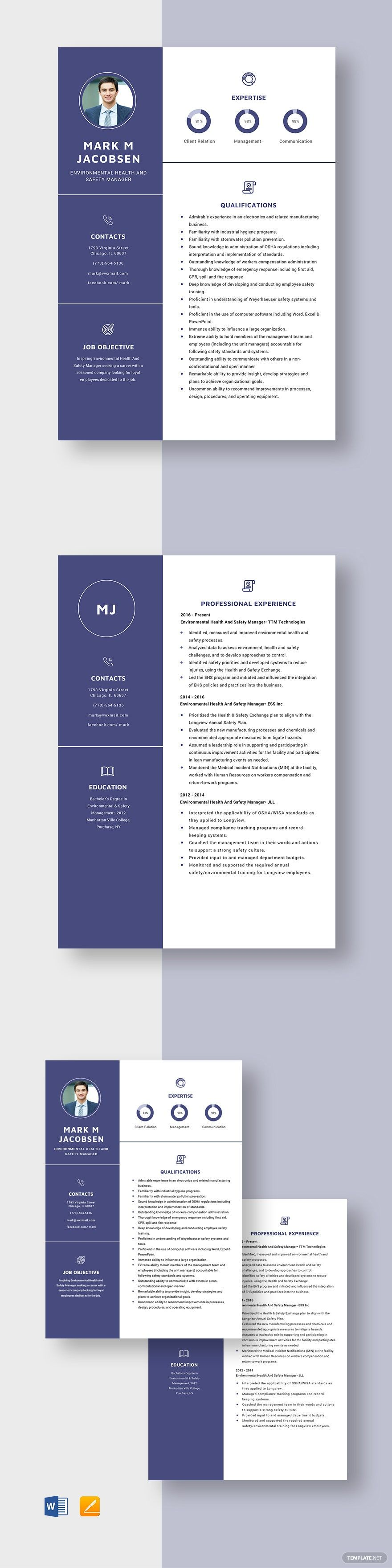 Environmental health and safety manager resume template in
