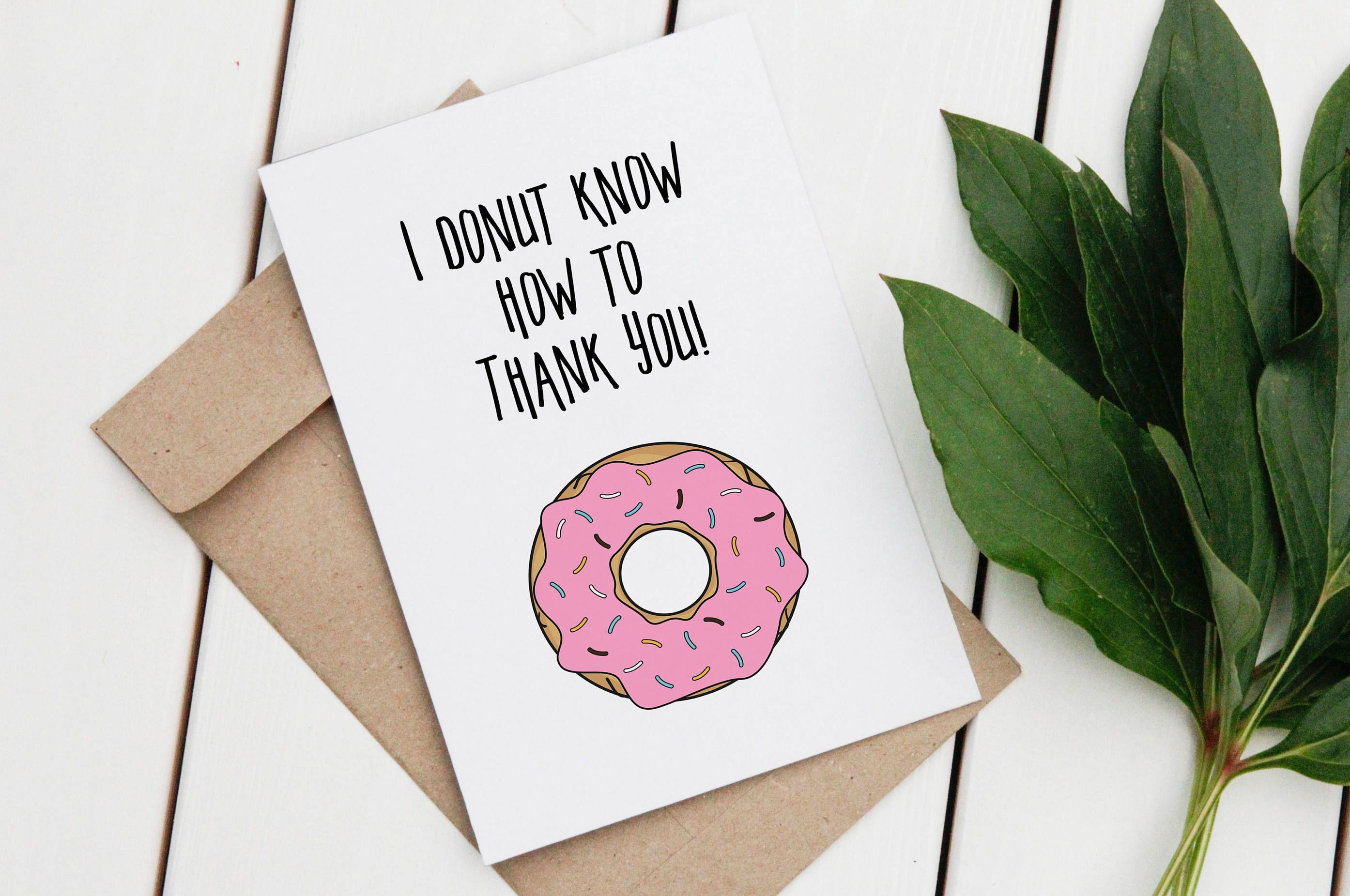 Thank you greeting card thankyou card donut card donut greeting thank you greeting card thankyou card donut card donut greeting card printable kristyandbryce Choice Image