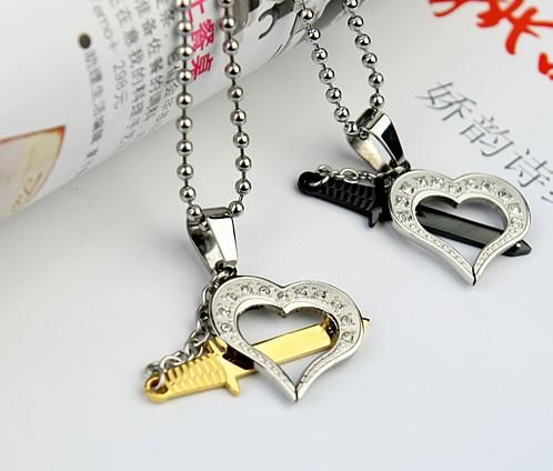 30fa1f60a0 flexible sword necklace for sale | Stainless Steel Sword Hearts Matching Couples  Necklaces. | Believe .