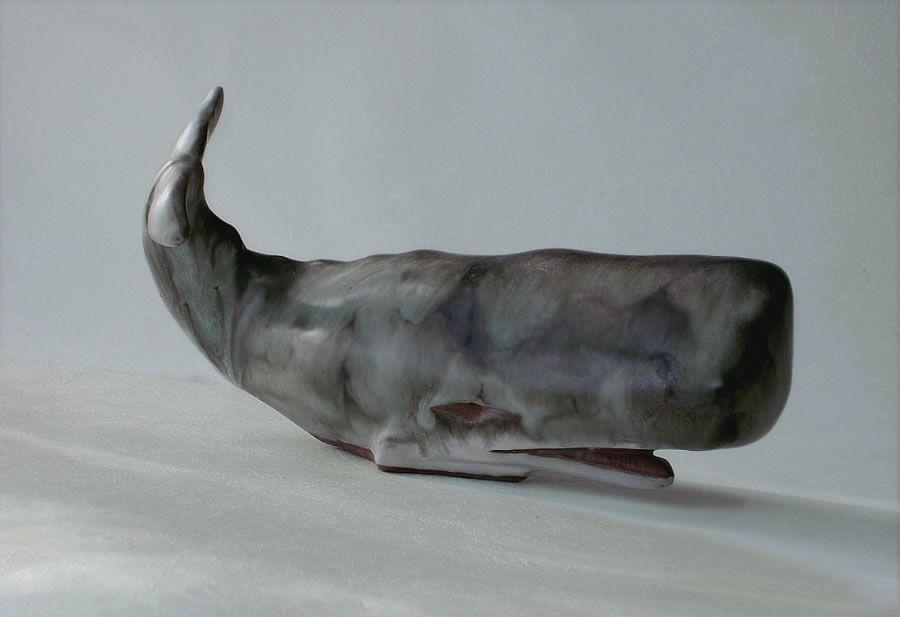 ANDERSON Ceramic Marine Life Sculpture: Stoneware Sperm Whale distinctive black…