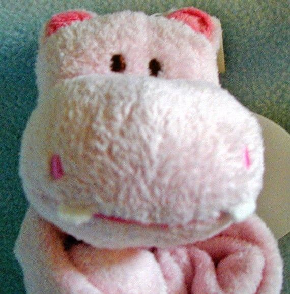 Pink Hippo Baby Blankie