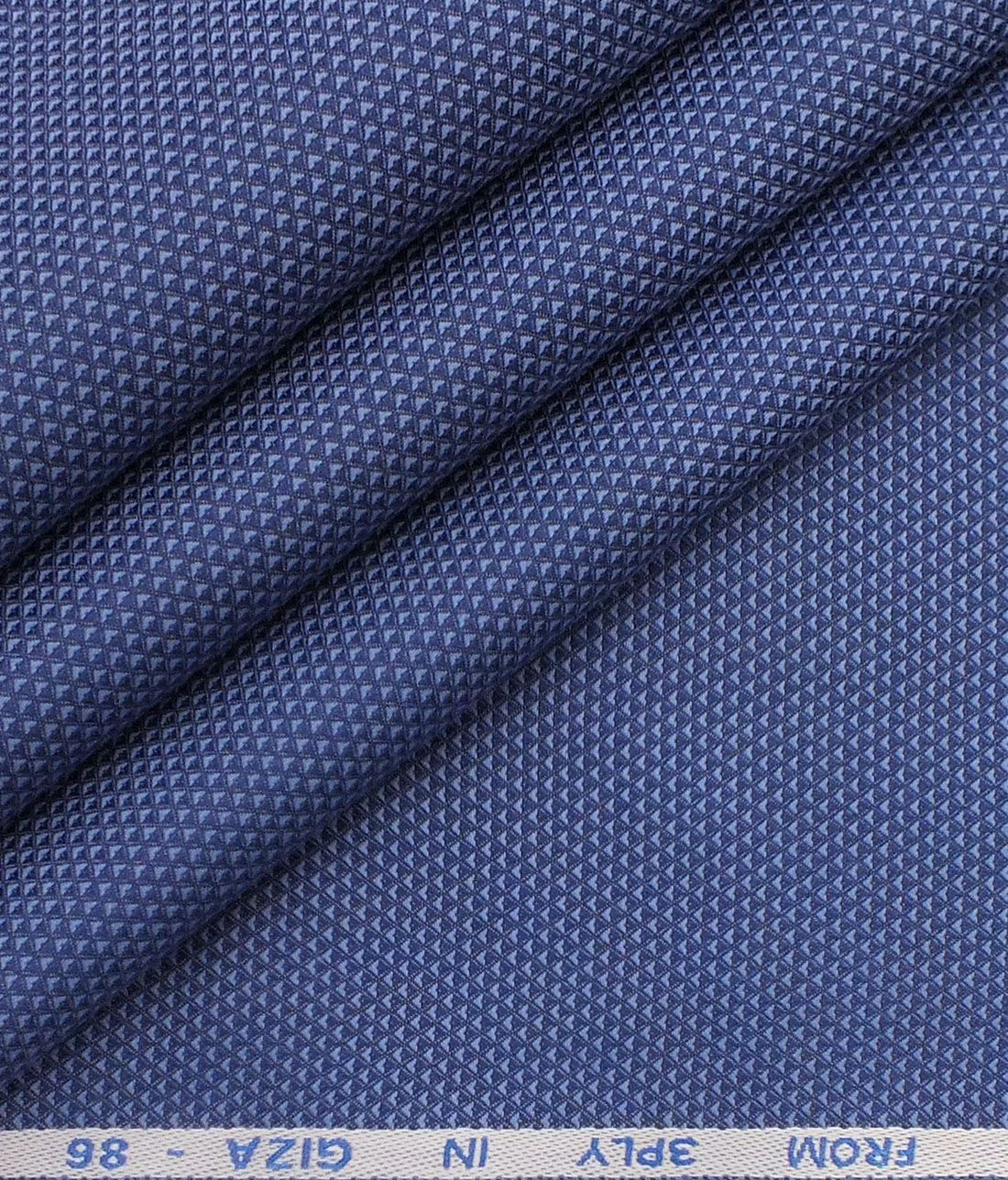 fcd04ad83 J.hampstead by Siyaram s Bright Blue 100% 3 Ply Giza Cotton Jaquard  Structured Trouser Fabric (Unstitched - 1.30 Mtr)