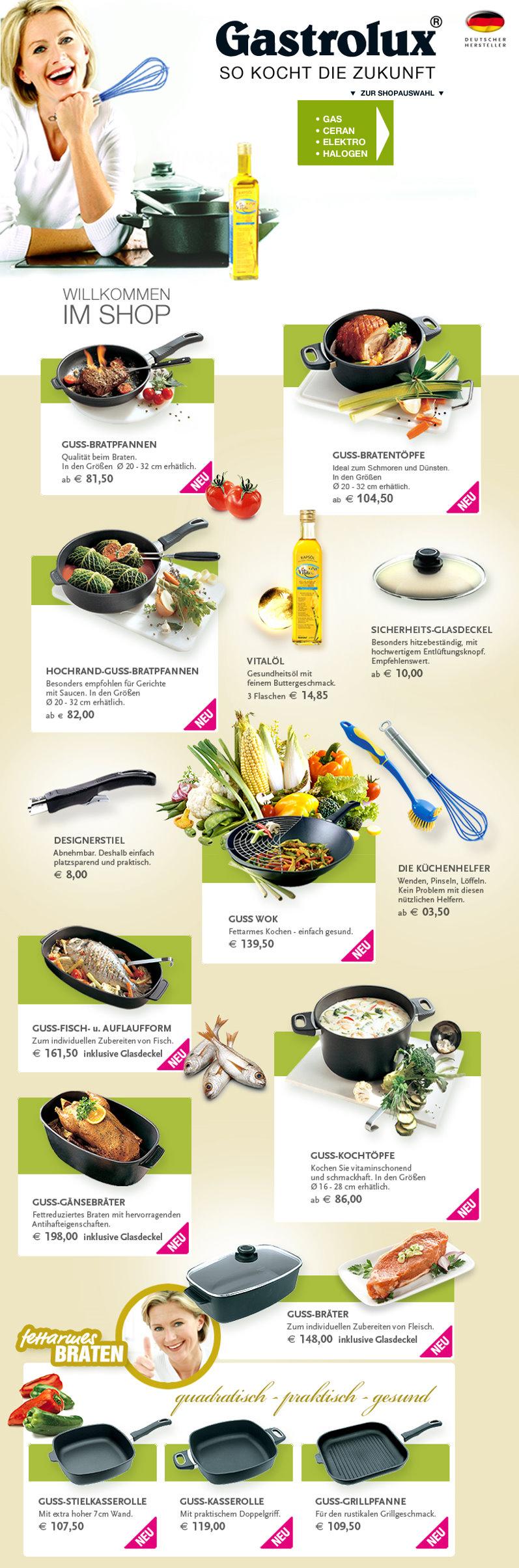 Kochen auf hohem Niveau? Das ist möglich mit den Pfannen von Gastrolux, fettarmes Braten ist kinderleicht möglich, es sind perfekte Helfer für jeden Hobbykoch