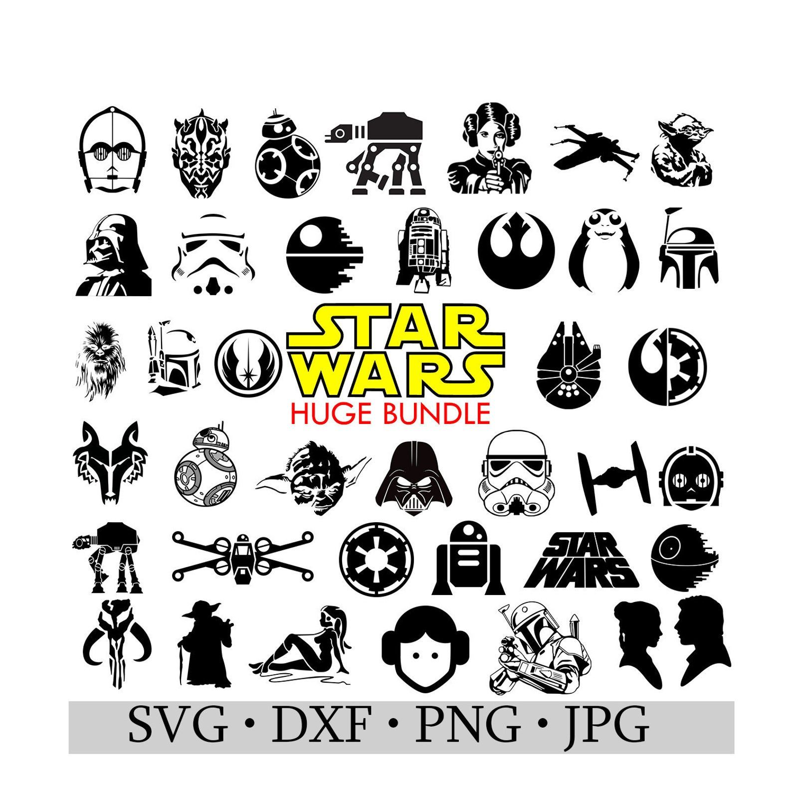 Star Wars Bundle SVG JPG DWG png Silhouette Cameo or