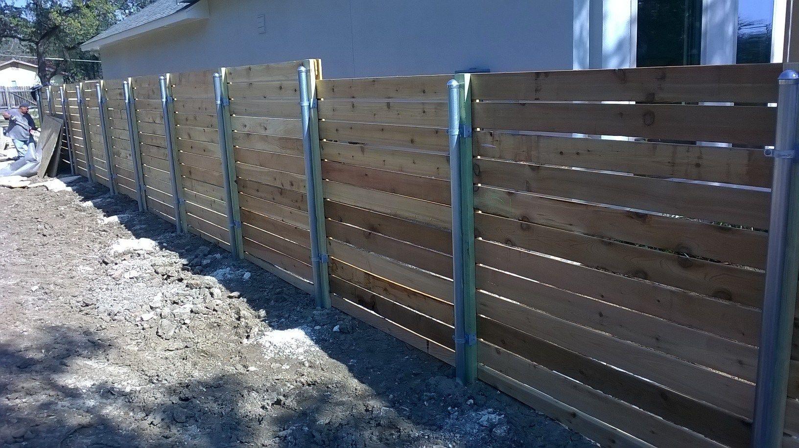 6 tall horizontal 1x6 cedar wgalvanized steel posts