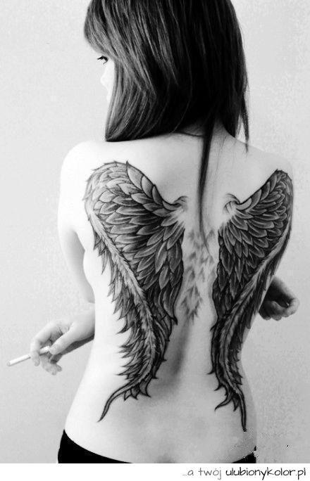 Tatuaż Skrzydła Doda Wolność Anioł Upadły Black Chce