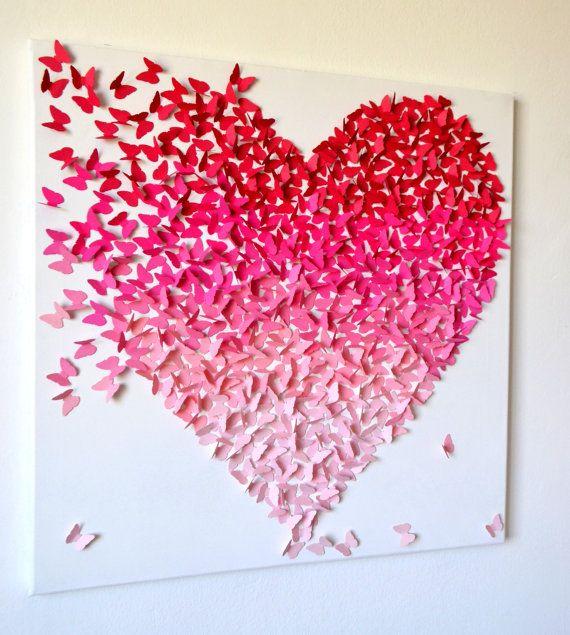 3d rosa ombre schmetterling herz 3d schmetterling von - Groaye glasvase dekorieren ...