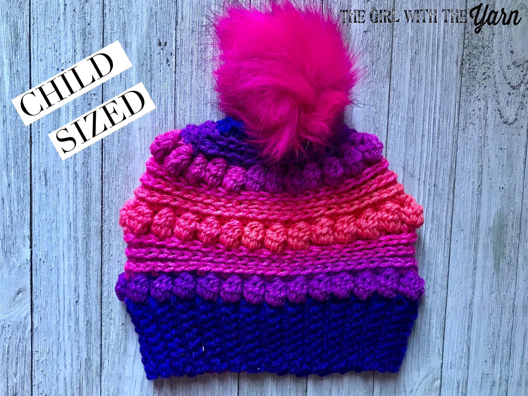 366089c2d0c Excited to share this item from my  etsy shop  Pink and Purple Striped  Bubblegum Pop Bobble Hat with Faux Fur Pom Pom