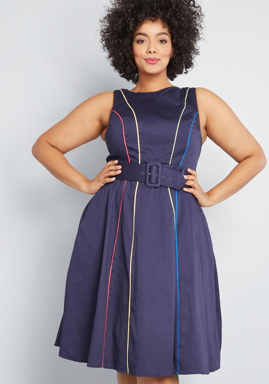 Between the Lines Belted Dress | Plus size work dresses ...