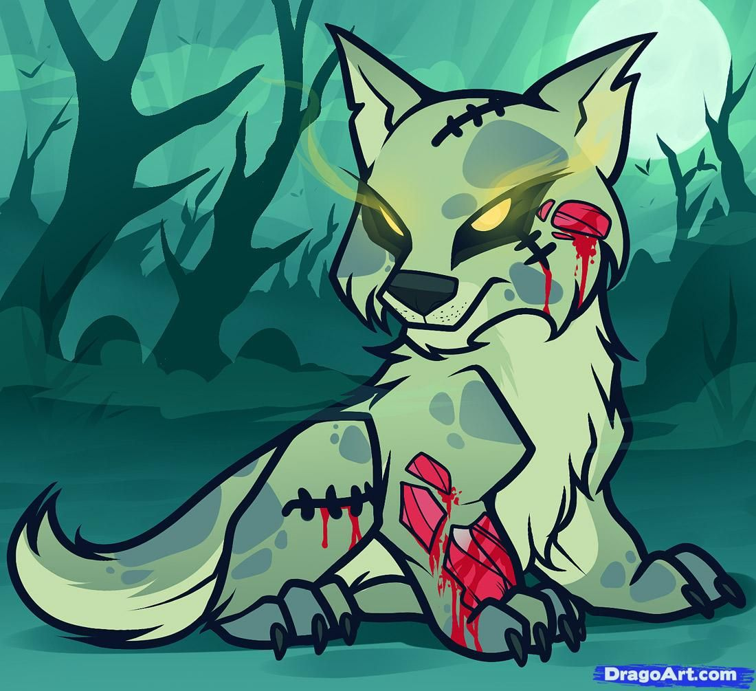 How To Draw A Zombie Wolf, Zombie Wolf, Step By Step, Zombies