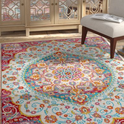 c6b8a1f483c Bungalow Rose Montana Ivory Red Area Rug Rug Size  5 2