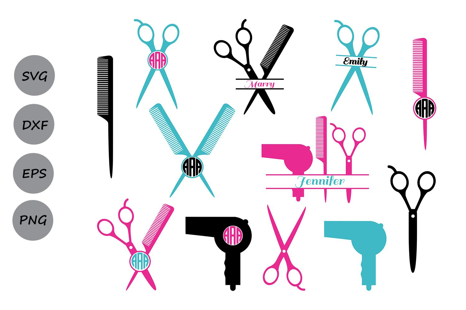 Hairdresser Svg Cut Files Hairstylist Monogram Circuit Board Wall Clock By Monogramit Scissors Dxf Silhouette Commercial Use Cosmosfineart