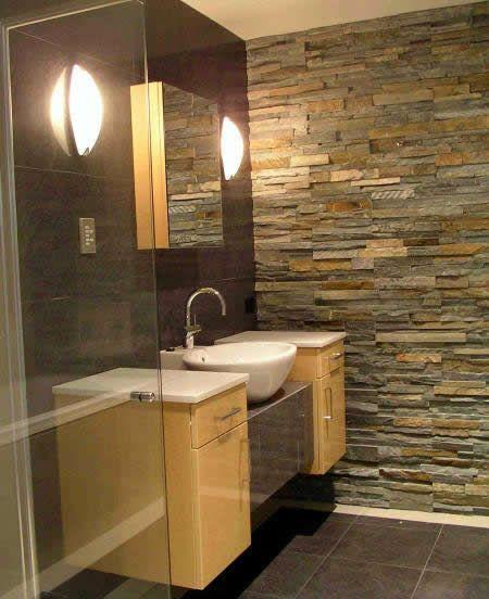 Ledgestone Wall In Bathroom. Super Rustic. I Love It.