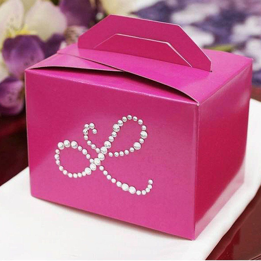 Personalized Diamond Letters Tote Favor Box - 100pcs | Box and Products