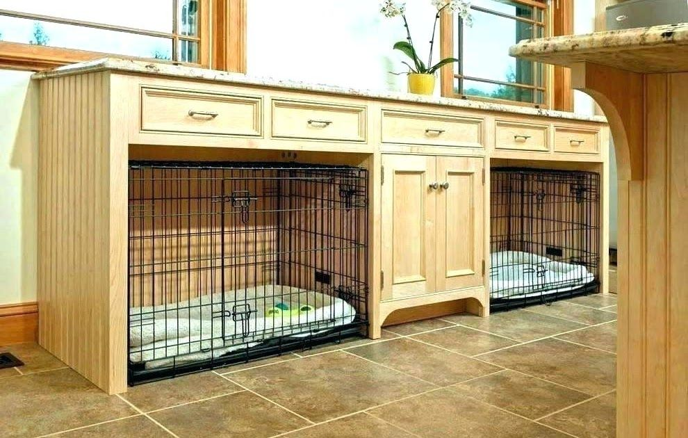 Large Wooden Double Dog Kennel Furniture Crate Custom Farmhouse Rustic Cr Diy Indoor
