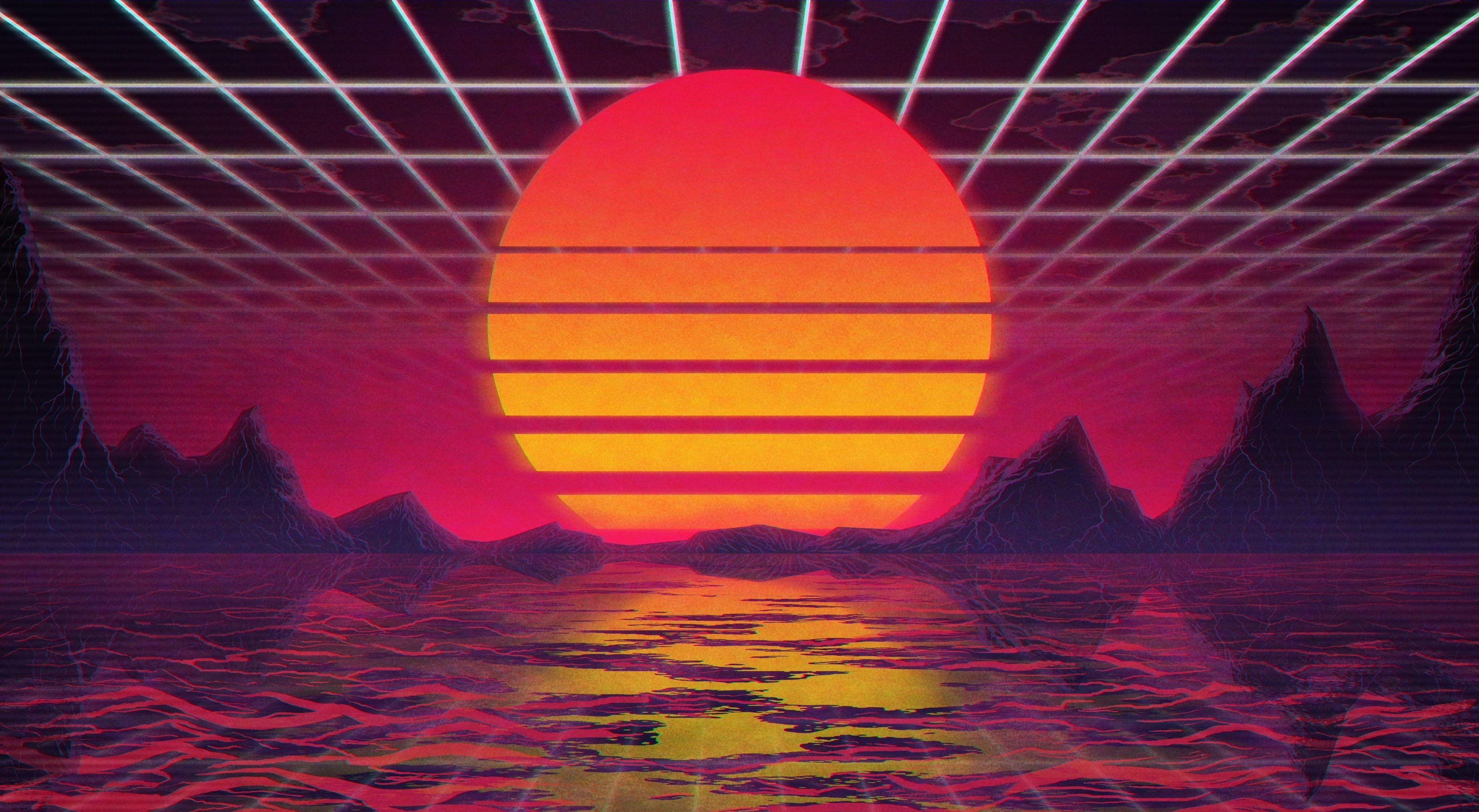 The Sun Music Star Background 80s Wallpaper Neon Vhs 80 S Synth Vaporwave Wallpaper Wallpaper Synthwave