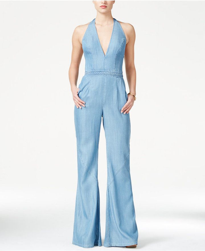 1bc625ac7a1 GUESS Wide-Leg Denim Halter Jumpsuit