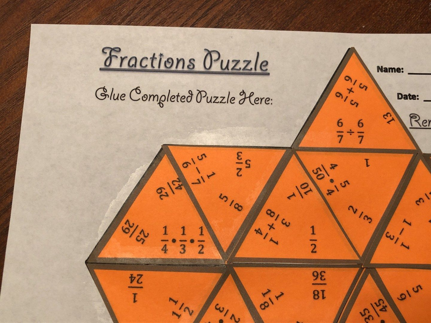 Fraction Operations Amp Simplifying Fractions Puzzle