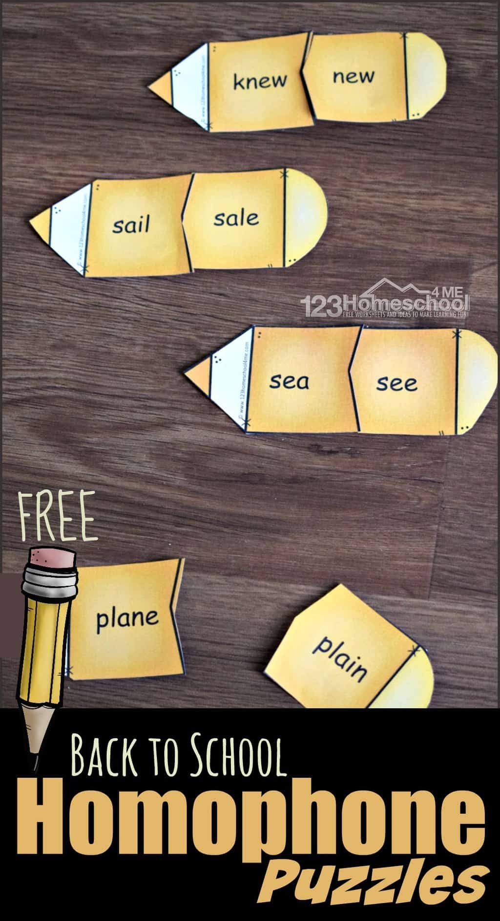 Back To School Homophone Puzzles