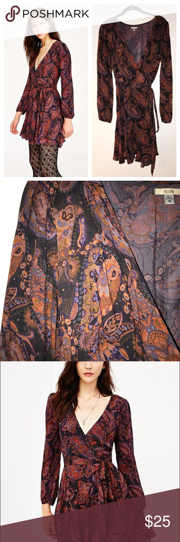 Ecote Paisley Wrap Dress Used / Urban Outfitters / Would fit Small or Med , I bought M to have it be slightly roomy, can be tied tighter with the wrap Ecote Dresses Long Sleeve