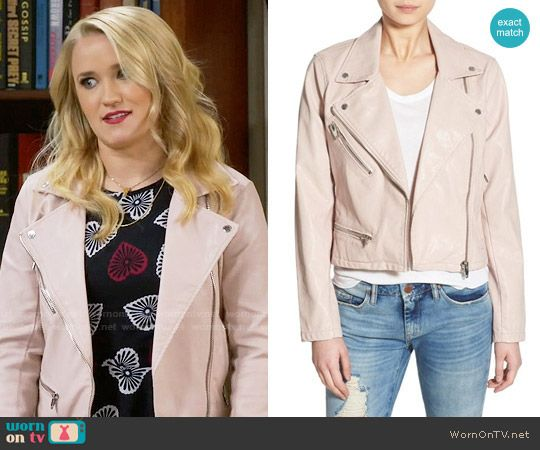 1b0ce99a997e Gabi s pink leather jacket on Young and Hungry. Outfit Details  https